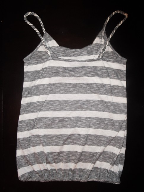 Other Boho Hippie Gypsy Studs Beads Twisted Rope Stripes Top Gray, White
