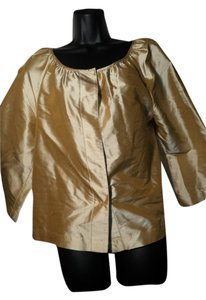 Kate Hill 3/4 Sleeve Silk Top Gold