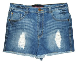 Material Girl Stretch Distressed Faded Cut Off Shorts Blue