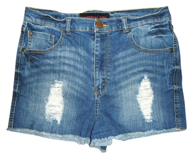 Preload https://img-static.tradesy.com/item/10460482/material-girl-blue-high-rise-high-waisted-ripped-faded-distressed-denim-stretchy-cut-off-shorts-size-0-1-650-650.jpg