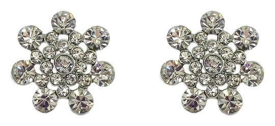 Other Silver Rhinestone Floral Stud Earrings