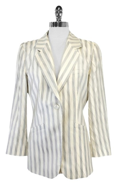 Preload https://item2.tradesy.com/images/armani-collezioni-cream-and-silver-striped-size-8-m-10460776-0-1.jpg?width=400&height=650