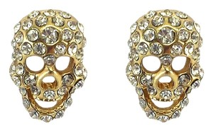 Other Gold & Rhinestone Skull Stud Earrings