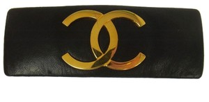 Chanel Authentic CHANEL Vintage CC Logos Hair Barrette Black Leather France A15560
