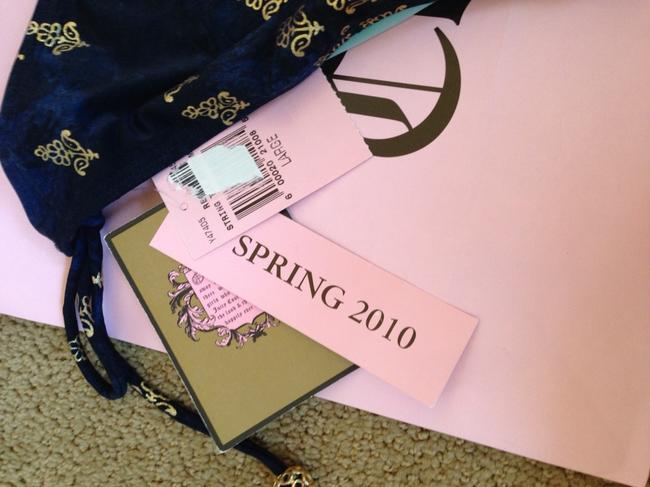 Juicy Couture 100% Authentic Juicy Couture Gold Royal String Bikini Navy Blue