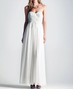 Adrianna Papell Ivory Polyester with Tulle Bodic Strapless Gown Feminine Wedding Dress Size 10 (M)