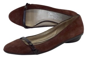 Salvatore Ferragamo Brown Suede Flats