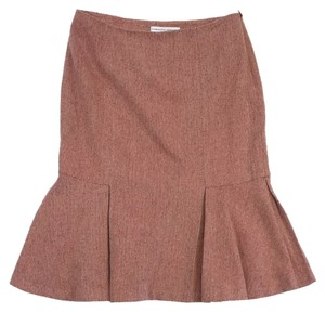 Carolina Herrera Orange Silk Wool Tweed Skirt