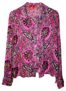 Oscar by Oscar de la Renta Silk Paisley Pink Button Top Berry Pink