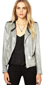 IRO Black White Sequin Sparkle Motorcycle Jacket