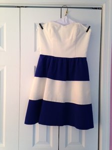 LulaKate Off White Bodice & Navy Off White Navy Skirt Pearl Dress