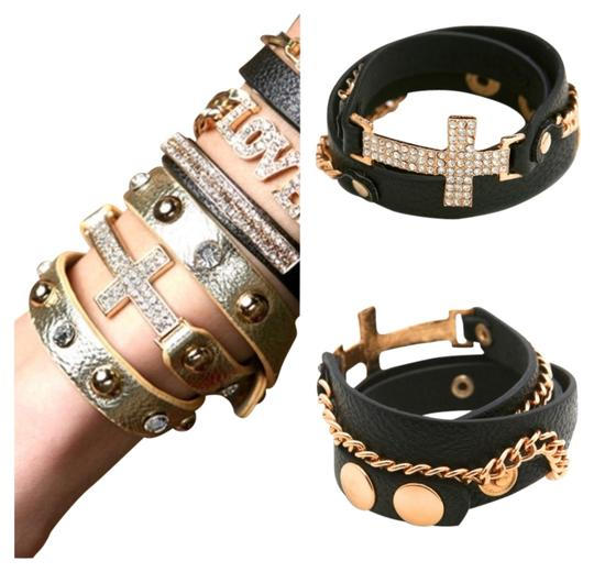 2Cute Black/Gold Rhinestone Cross Wrap Band Bracelet