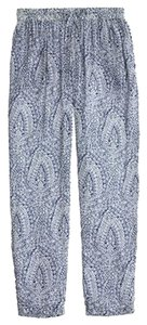 J.Crew Print Summer Loose Flowy Paisley Lightweight Thin Material Drawstring Straight Leg Relaxed Pants Blue
