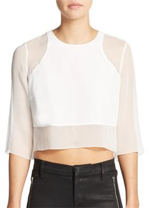 Elizabeth and James Silk Sheer Crop Cropped Top White, Ivory