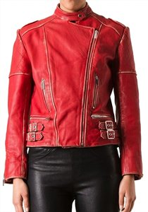 Christopher Kane Leather Genuine Biker Red Leather Jacket