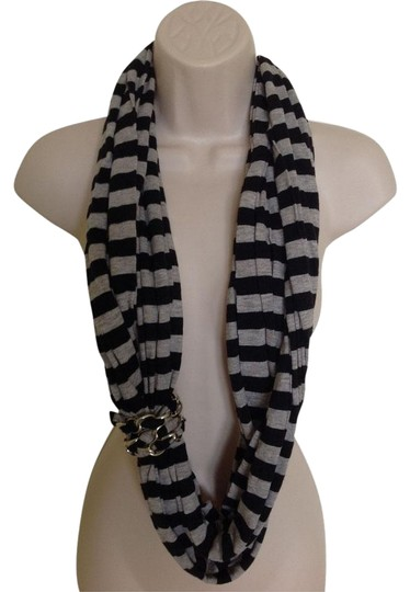 River Island Black & Grey Striped Infinity Scarf with Silver Chain Detail