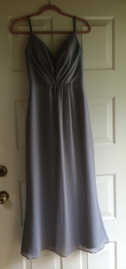 Jim Hjelm Occasions Pewter Pearl Crinkle Chiffon Jh5358 Formal Bridesmaid/Mob Dress Size 0 (XS)