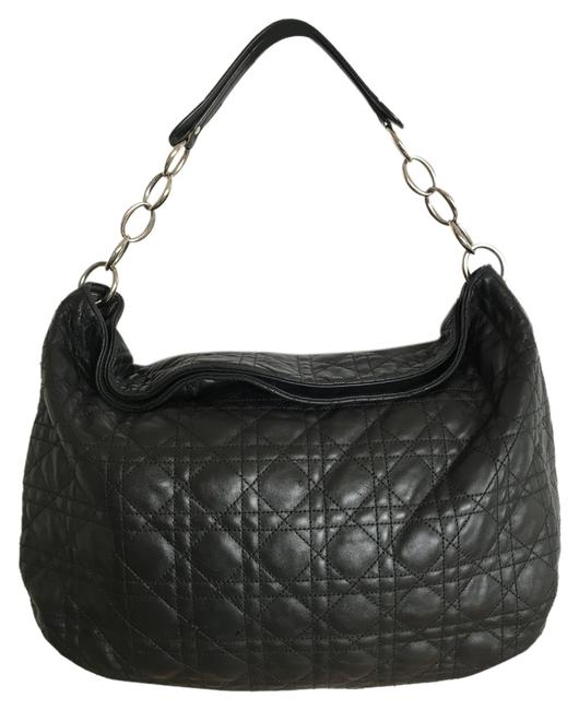 Item - Quilted Black Lambskin Leather Hobo Bag