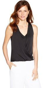 White House | Black Market Shell Layered V Neck Surplice Overlay Top Black