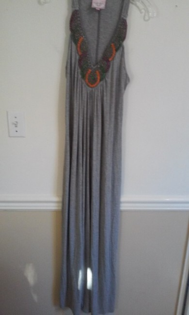 Grey Maxi Dress by Romeo & Juliet Couture Maxi Beaded Neckline
