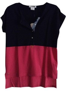 Lacoste T Shirt Navy Blue and Fuchsia