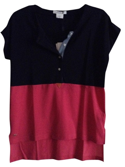 "Lacoste New Unworn With Tag Attached High-low Sleeve Color Blocked Henley Length From Shoulder In Front: 24"" Width Across T Shirt Navy Blue and Fuchsia"