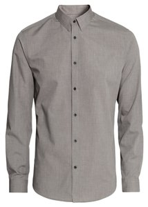 H&M Men's Long-sleeved Shirt Button Down Shirt Dark Grey