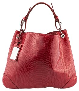 Ralph Lauren Python Flat Tote in Red