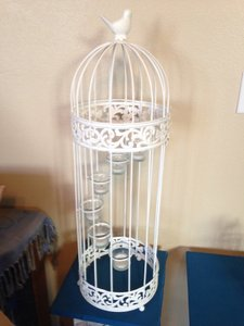 Large White Tea Light Bird Cage