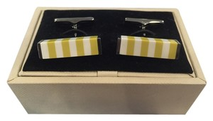Burberry NEW, RARE Burberry Block Stripe Cufflinks, Bright Yellow / White