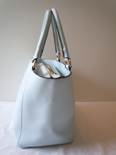 Studio Moda Smooth Satchel Leather Italian Tote in blue