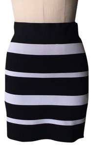 BCBGMAXAZRIA Mini Skirt Black and white stripe