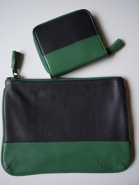 Item - Green Blue New Set Leather Pouch and Zip Around Wallet