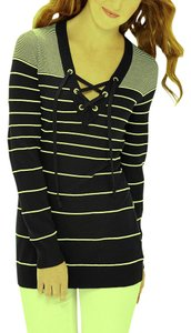 The Limited Striped Lace Up Tunic