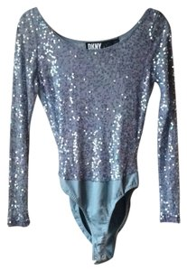 DKNY long sleeve sequin body suit Top Powder blue /periwinkle