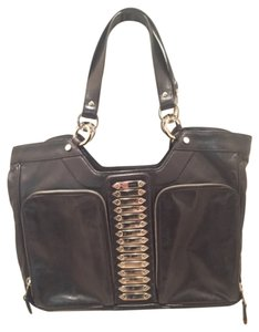Balenciaga Leather Silver Plates Silver Rings Zippered Pockets Pocket Mirror Dust Chic Edgy Stunning Pristine Satchel in Black