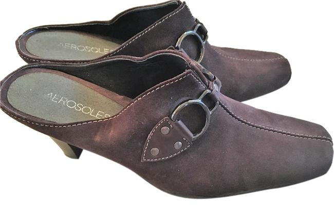 Aerosoles Brown Suede Cinch Worm Mules/Slides Size US 7.5 Extra Wide (Ww, Ee) Image 1