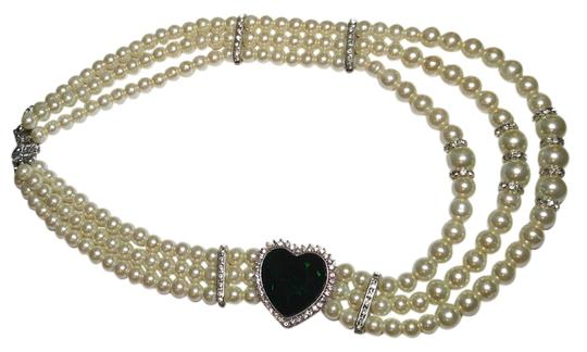 Preload https://img-static.tradesy.com/item/10471600/white-silver-green-multi-strand-glass-pearl-large-crystal-j1818-necklace-0-1-540-540.jpg