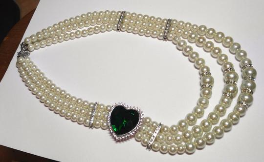 Other Multi Strand Glass Pearl Large Crystal Necklace Jewelry J1818