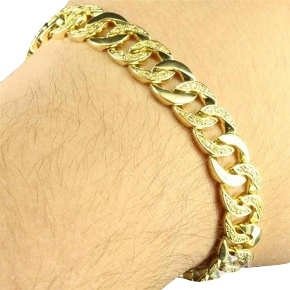 Other Mens Miami Cuban Bracelet Link Design Simulated Diamond In 14k Gold Finish