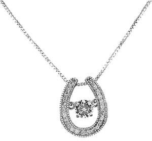 Horse Shoe Pendant 925 Silver Matching Chain Combo Set Spinner Lab Diamond