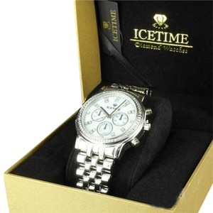 IceTime Marquis Icetime Joe Rodeo Mop Dial White Gold Finish Diamond Mens Steel Watch
