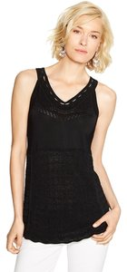 White House | Black Market Sleeveless Open Stitch Pullover Black Halter Top
