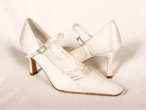 Shelley George Begonia White Silk Satin Bridal Shoes Wedding Shoes