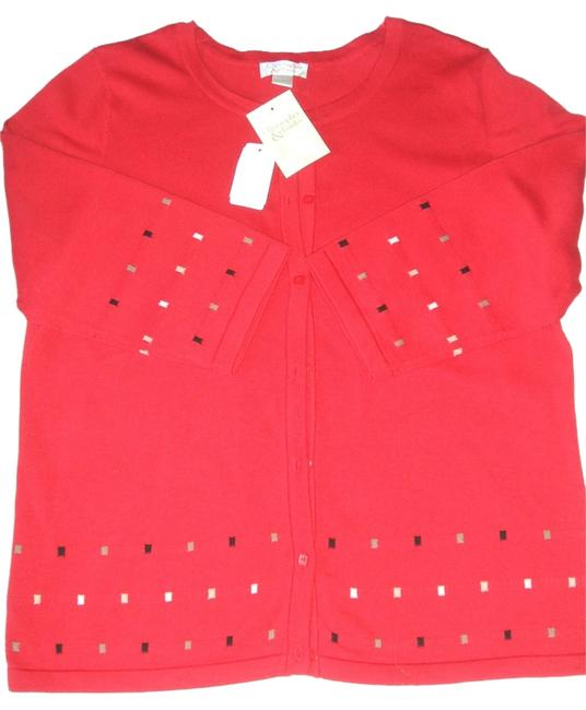 Preload https://item3.tradesy.com/images/christopher-and-banks-women-s-christopher-and-banks-34-sleeve-cotton-sweater-l-red-new-cardigan-size-10472857-0-1.jpg?width=400&height=650