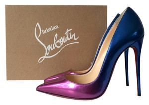 Christian Louboutin So Kate 120 Patent Leather Scarabe Rose Digitale Blue Foil Ombre Degrade Pigalle Follies Purple Pumps