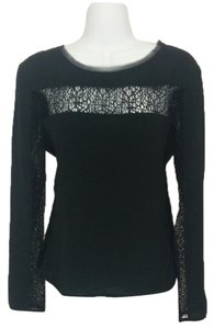 Rachel Roy Shirt Tattered Longsleeve Long Sleeves Large Prismatic Sheer Top Black
