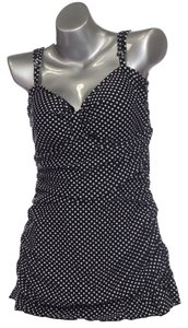Tropical Honey Tropical Honey Black /White Polka dot Slimming Secret One Piece Swimsuit-sz 16