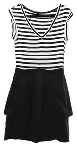 BCBGMAXAZRIA short dress black and white Stripes on Tradesy