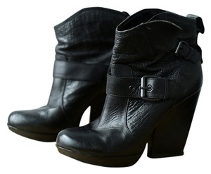 Leather Boot Bootie Ankle Black Boots